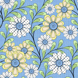 Floral seamless pattern , cartoon cute flowers  light blue background Stock Photography