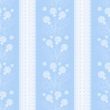 Floral seamless pattern , cartoon cute flowers light blue striped background Stock Photography