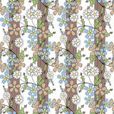 Floral seamless pattern, cartoon cute flowers striped background Stock Photography