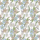 Floral seamless pattern, cartoon cute flowers white background. Floral seamless pattern in retro style, cartoon cute flowers white background Royalty Free Stock Photos