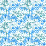 Floral seamless pattern, cartoon cute light blue flowers white background Stock Photography