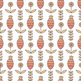 Floral seamless pattern in cartoon style. Royalty Free Stock Image