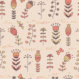 Floral seamless pattern in cartoon style Stock Images