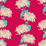Floral seamless pattern with chrysanthemum on crimson background Stock Photo