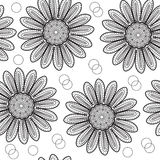 Floral seamless pattern chrysanthemum, in the style of hand drawing. Black and white flowers. Vector illustration Stock Image