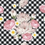 Floral seamless pattern. Chrysanthemums, chamomiles and roses on black and white gingham, checked background. Vector illustration vector illustration