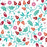 Floral seamless pattern with cold color scheme. Vector illustration royalty free stock image