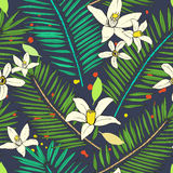 Floral seamless pattern. Collection with tropical leaves and flo Royalty Free Stock Photo