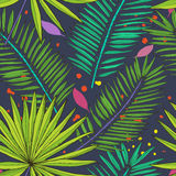 Floral seamless pattern. Collection with tropical leaves in sket Royalty Free Stock Photo