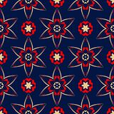 Floral seamless pattern. Colored red and blue background. For wallpapers, textile and fabrics Stock Images