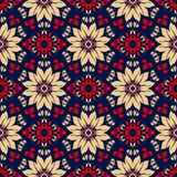 Floral seamless pattern. Colored red and blue background. For wallpapers, textile and fabrics Stock Photography