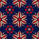 Floral seamless pattern. Colored red and blue background. For wallpapers, textile and fabrics Royalty Free Stock Photo