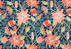 Floral seamless pattern. Colorful background wallpaper illustration with vintage summer flowers leaves and ornaments. Vector texture for fabric, textile Royalty Free Stock Photography
