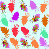 Floral  seamless pattern with colorful cool leaves and sea Stock Photos