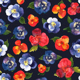 Floral seamless pattern with colorful flowers in watercolor on b Royalty Free Stock Photos