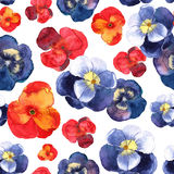 Floral seamless pattern with colorful flowers in watercolor. Des Royalty Free Stock Image