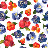 Floral seamless pattern with colorful flowers in watercolor. Des Stock Photography