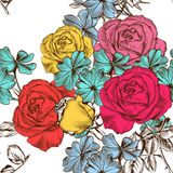 Floral seamless pattern with colorful roses Royalty Free Stock Images