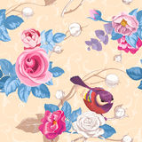Floral seamless pattern with colorfull bunches of roses Stock Photography