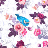 Floral seamless pattern with colorfull bunches of roses and cute blue bird  Royalty Free Stock Photography