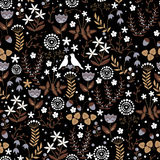 Floral seamless pattern with cute birds couple on doodle flower background Royalty Free Stock Photos