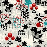 Floral seamless pattern with cute birds flowers. Royalty Free Stock Image