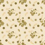 Floral seamless pattern , cute cartoon flowers beige background Stock Image