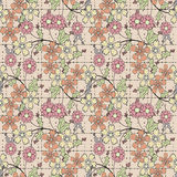 Floral seamless pattern  cute cartoon flowers beige background Stock Images
