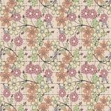 Floral seamless pattern, cute cartoon flowers beige background Stock Image
