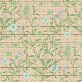 Floral seamless pattern, cute cartoon flowers beige background striped Stock Image