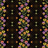 Floral seamless pattern , cute cartoon  flowers black background. Royalty Free Stock Photos