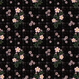Floral seamless pattern, cute cartoon flowers black background in specks Royalty Free Stock Images
