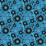 Floral seamless pattern, cute cartoon flowers blue background Stock Images