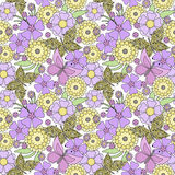 Floral seamless pattern, cute cartoon flowers with butterflies light background Royalty Free Stock Images