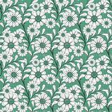 Floral seamless pattern , cute cartoon flowers green background Royalty Free Stock Photo