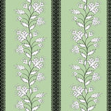 Floral seamless pattern  cute cartoon flowers green background Stock Image