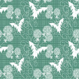 Floral seamless pattern, cute cartoon flowers green background striped Royalty Free Stock Photos