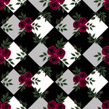 Floral seamless pattern  cute cartoon flowers grey background Stock Photos