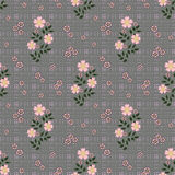 Floral seamless pattern, cute cartoon flowers grey background in specks Royalty Free Stock Photography