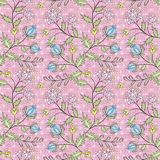 Floral seamless pattern, cute cartoon flowers pink background Royalty Free Stock Photography