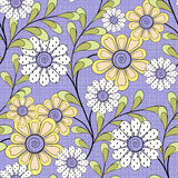Floral seamless pattern , cute cartoon  flowers purple background Stock Photos