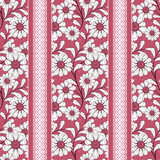 Floral seamless pattern , cute cartoon flowers red background striped Royalty Free Stock Image