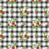 Floral seamless pattern, cute cartoon flowers strawberry  background in a cage Stock Photos