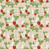 Floral seamless pattern, cute cartoon flowers strawberry beige background Royalty Free Stock Photo