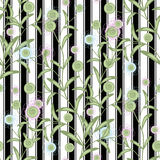 Floral seamless pattern, cute cartoon flowers white background black stripes Royalty Free Stock Image