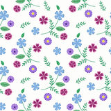 Floral seamless pattern , cute cartoon  flowers white background Stock Photos