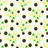 Floral seamless pattern , cute cartoon  flowers white background Stock Images