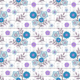 Floral seamless pattern , cute cartoon  flowers white background Stock Image