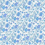 Floral seamless pattern, cute cartoon flowers white background vector illustration