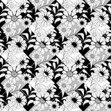 Floral seamless pattern, cute cartoon flowers white background Stock Photography
